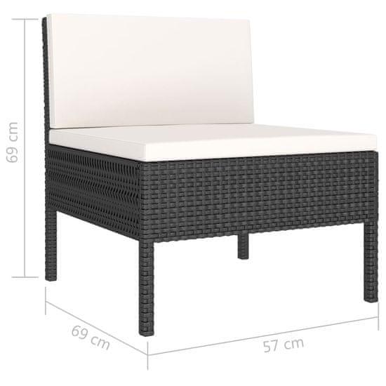 shumee Vrtna sedežna garnitura z blazinami 6-delna poli ratan črna