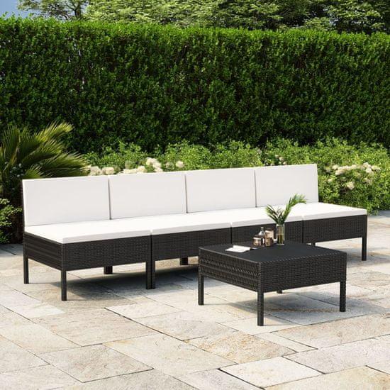 shumee 5-cz. zestaw wypoczynkowy do ogrodu, poduszki, czarny rattan PE
