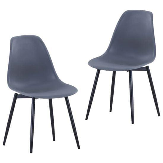 shumee Jedilni stol 2 kosa sive barve PP