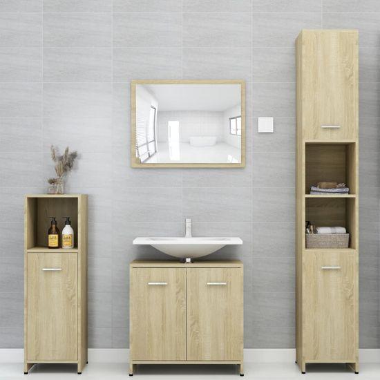 shumee 3 részes sonoma-tölgy színű forgácslap fürdőszobai bútorszett