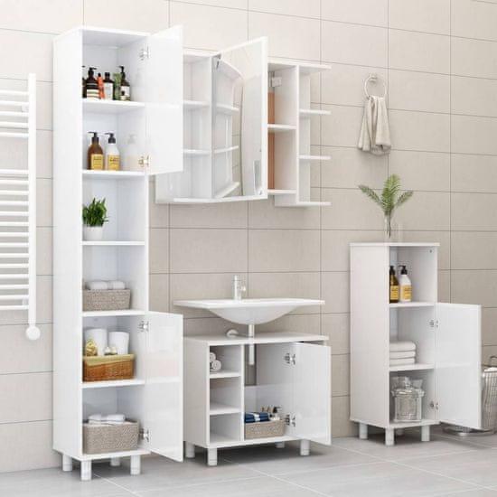 shumee Kopalniška omarica visok sijaj bela 30x30x95 cm iverna plošča