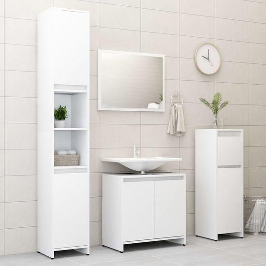 shumee Zestaw mebli łazienkowych, biały, płyta wiórowa