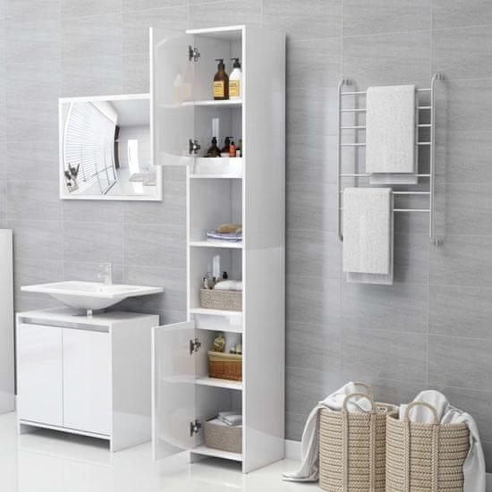 shumee 3 részes magasfényű fehér forgácslap fürdőszobai bútorszett
