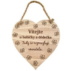 AMADEA Dřevěné srdce s textem Vítejte u babičky a dědečka, tady.. , masivní dřevo, 16 x 15 cm