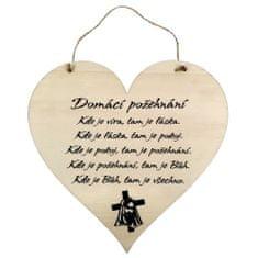 AMADEA Dřevěné srdce s textem Domácí požehnání..., 21 x 20 cm