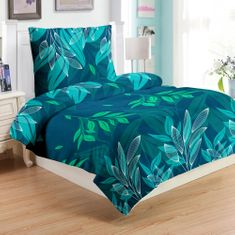 Jahu Green leafs posteljnina, mikropliš, 70 x 90/140 x 200