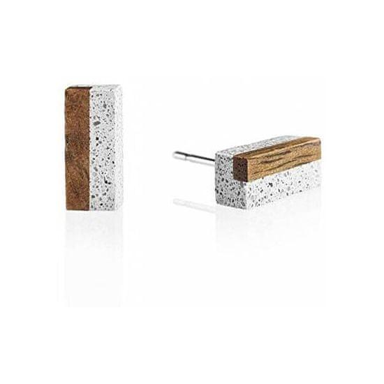 Gravelli Náušnice z betonu a dřeva Block Wood GJEWWOG004UN
