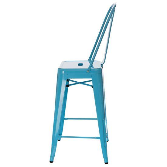shumee Paris Back modri barski stol, ki ga je navdihnil Tolix