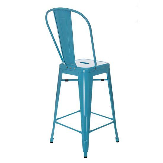 shumee Stołek barowy Paris Back niebieski inspirowany Tolix