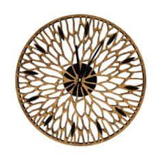 AMADEA Dřevěné designové hodiny nástěnné prořezávané hnědé, masivní dřevo, průměr 30 cm