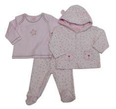 Just Too Cute Komplet kojenecký velur – hvězdičky – růžový růžová 62