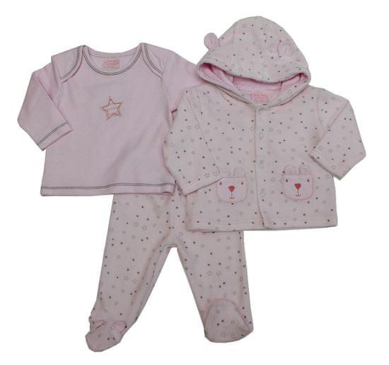 Just Too Cute Komplet kojenecký velur – hvězdičky – růžový