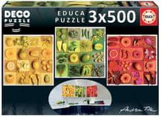 Educa sestavljanka Deco, 3x500 kosov: Egzotično sadje in cvetje