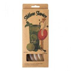 Apriori Set 4 steklenih slamic s ščetko - ukrivljene 23 cm