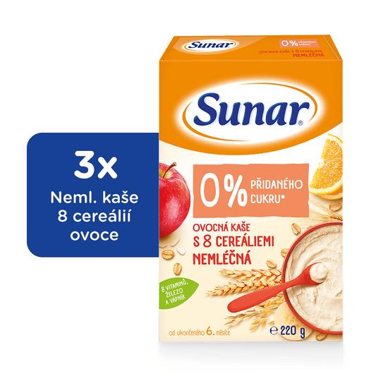 Sunar nemliečna kaša ovocná s 8 cereáliami (3x220g)