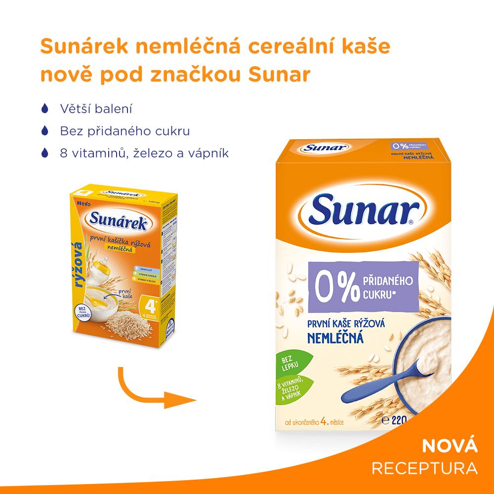 Sunar první kaše rýžová nemléčná 3x 220 g