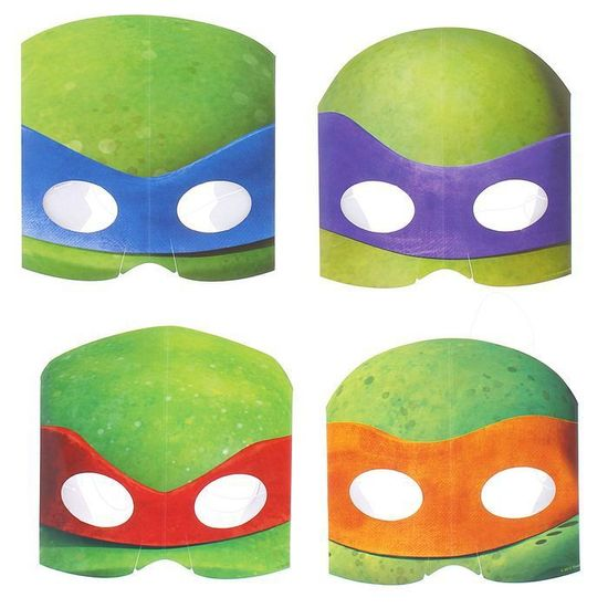 "Amscan Maska ""želvy ninja"", papírová, sada 8 ks, na gumě"
