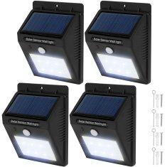 tectake 4 Vonkajšie nástenné svietidlá LED integrovaný solárny panel a detektor pohybu - čierna