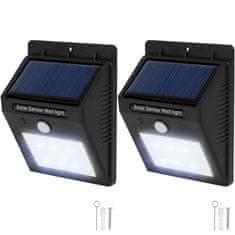 tectake 2 Vonkajšie nástenné svietidlá LED integrovaný solárny panel a detektor pohybu - čierna