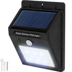 tectake Vonkajšie nástenné svietidlo LED integrovaný solárny panel a detektor pohybu - čierna