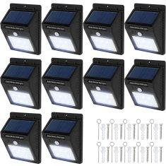 tectake 10 Vonkajších nástenných svietidiel LED integrovaný solárny panel a detektor pohybu - čierna
