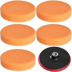 tectake Leštiaca sada 6 dielov finišovacích kotúčov unášacích 150 mm - oranžová