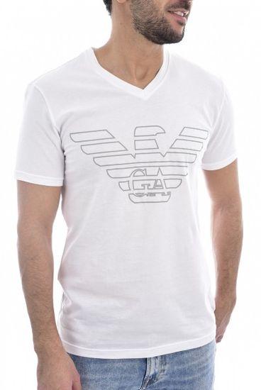 Emporio Armani Pánské triko Emporio Armani bílé s logem - M