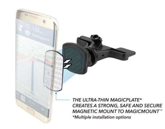 Scosche MagicMount magnetický držiak s bezdrôtovou nabíjačkou do slotu CD / DVD MPQ2CD-XTSP