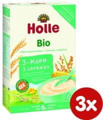 Holle Bio 3 druhy zrna, bezmléčná kaše - 3 x 250g