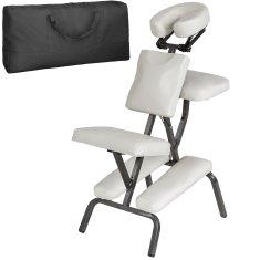 tectake Masážní židle ze syntetické kůže - bílá