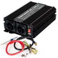 tectake Měnič napětí Invertor 12V na 230V 1000W 2000W - černá