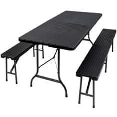 tectake Zahradní pivní set campingový stůl a lavice skládací dekor ratan - černá