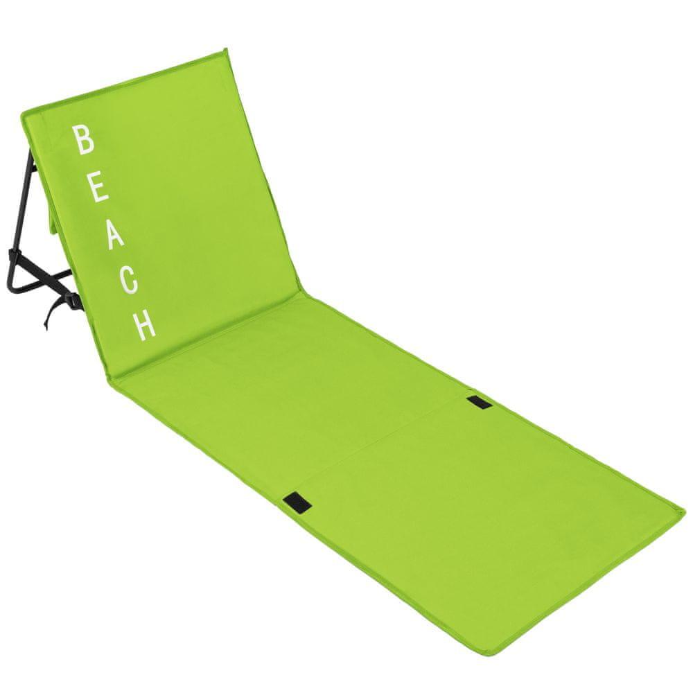 tectake Plážové lehátko s nastaviteľným operadlom - zelená
