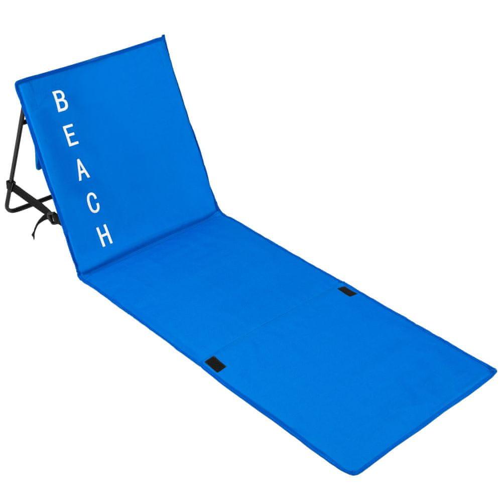 tectake Plážové lehátko s nastaviteľným operadlom - modrá