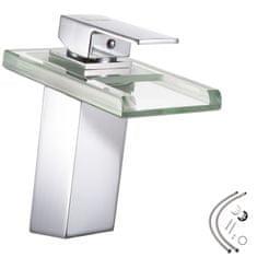 tectake Kúpeľňová batéria s vodopádom a LED osvetlením - šedá