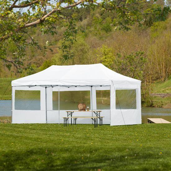 tectake Skladací pavilón Viola 3x6 m so 4 bočnicami - biela