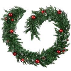 tectake Vánoční girlanda s ozdobami a šiškami - červená/zelená