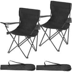 tectake 2 Kempingové židle Gil - černá