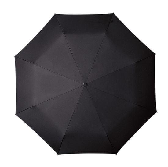Moški večji zložljiv dežnik, dvojni avtomat - črn