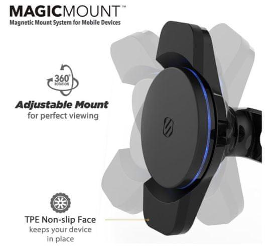 Scosche Magnetický držiak 3. generácie s Qi nabíjaním, Double pivot MCQWDDP-XTET