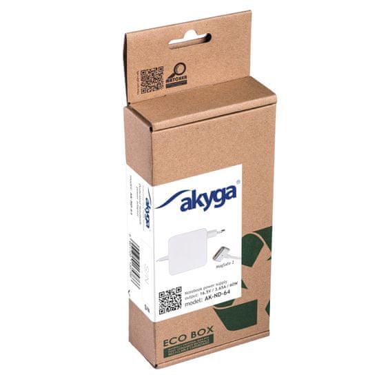 Akyga AK-ND-64 napajalnik za Apple prenosnike, 60 W, 16,5V / 3,65A, MagSafe 2