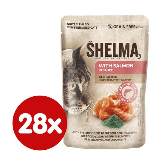 SHELMA bezobilné dušené filetky s lososem a spirulinou v omáčce 28x85 g