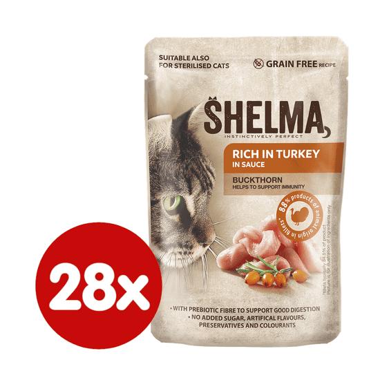 SHELMA bezobilné dusené filetky bohaté na kuracinu s rakytníkom v omáčke 28x85 g