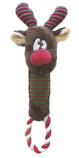 RECORD igračka za pse, zvižduk, s užetom, sobovi, 30 cm