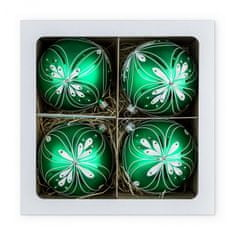 Nastrom Sada sklenených vianočných ozdôb Ľudové umenie - guľa s kvetinovým motívom, zelená, 10 cm
