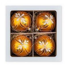 Nastrom Sada sklenených vianočných ozdôb Ľudové umenie - guľa s kvetinovým motívom, žltá, 10 cm