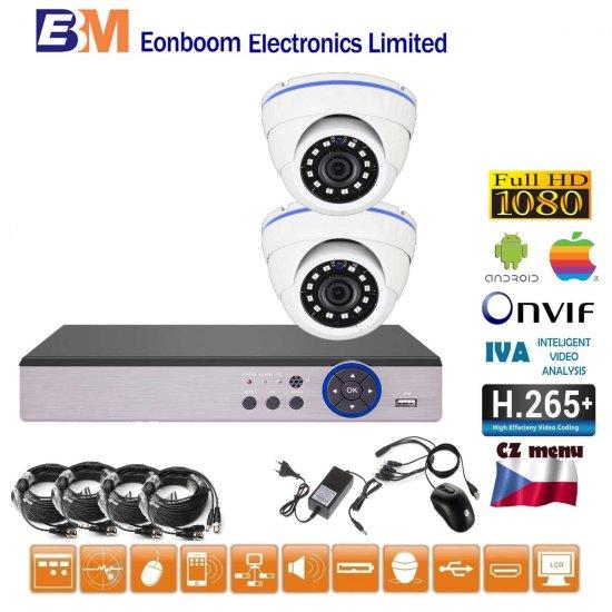 Eonboom 4CH 5MPx AHD kamerový set 2D CCTV s DVR s LAN a 2x venkovní dome kamera