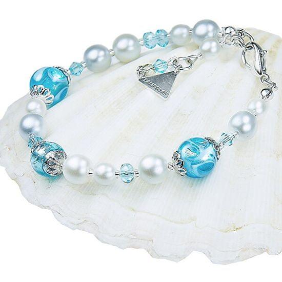 Lampglas Elegáns nyaklánc Blue Lace s Lampglas gyönggyel és tiszta ezüsttel BP4