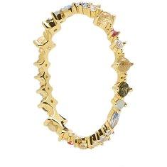 PDPAOLA Něžný pozlacený prsten ze stříbra s třpytivými zirkony PAPILLON Gold AN01-191 (Obvod 52 mm) stříbro 925/1000