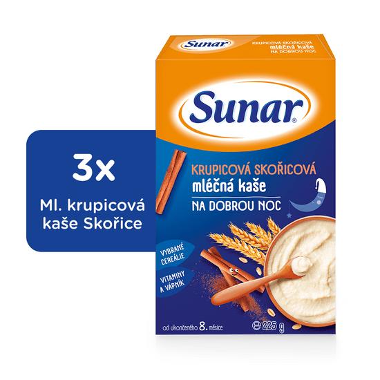Sunar krupicová kašička se skořicí na dobrou noc mléčná (3x225g)